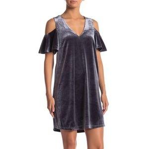 Sugarlips Velvet Cold Shoulder V-Neck Shift Dress